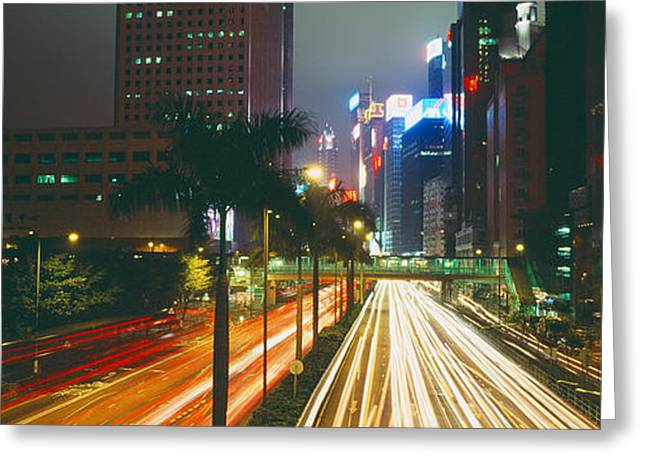 Traffic Greeting Cards - Traffic On The Road, Hong Kong, China Greeting Card by Panoramic Images