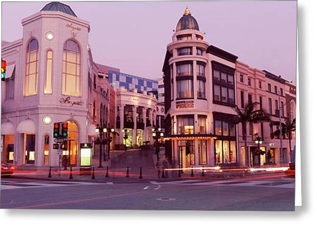 Traffic Lights Greeting Cards - Traffic On The Road, Rodeo Drive Greeting Card by Panoramic Images