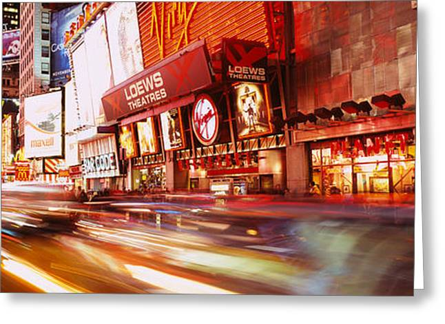 Headlight Greeting Cards - Traffic On The Road, Times Square Greeting Card by Panoramic Images