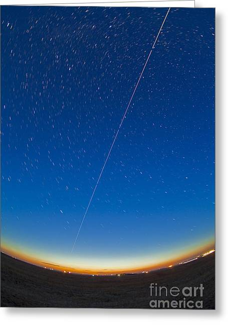 Arcturus Greeting Cards - Trail Of The International Space Greeting Card by Alan Dyer