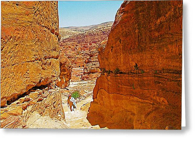 Jordan Trail Greeting Cards - Trail to the Monastery in Petra-Jordan Greeting Card by Ruth Hager