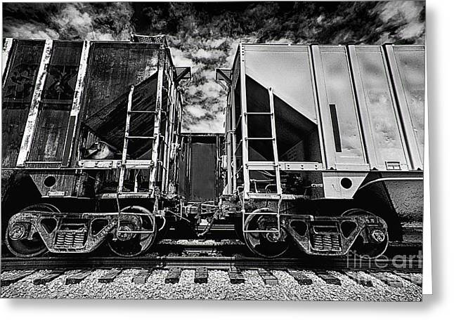 Mechanism Photographs Greeting Cards - Train Cars Coupling Greeting Card by Danny Hooks
