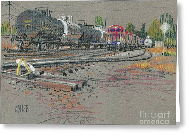 Train's Coming Greeting Card by Donald Maier