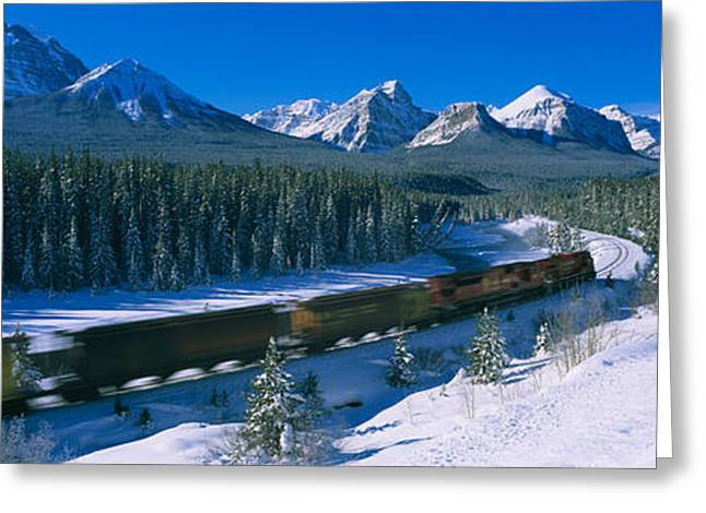 Snow On Trees Greeting Cards - Train Moving On A Railroad Track Greeting Card by Panoramic Images