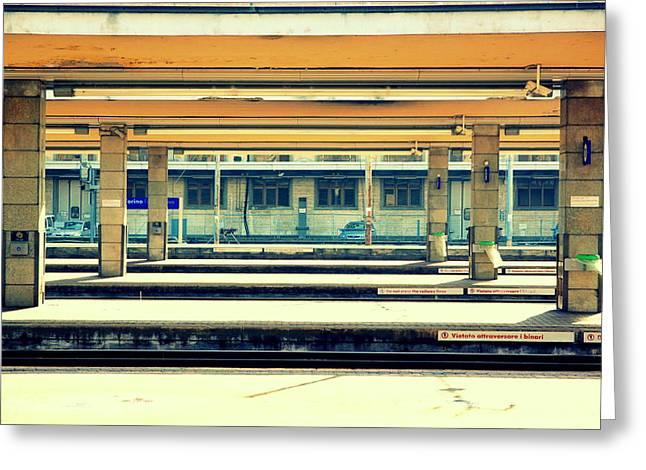 Electric Vehicle Greeting Cards - Train Station Greeting Card by Valentino Visentini
