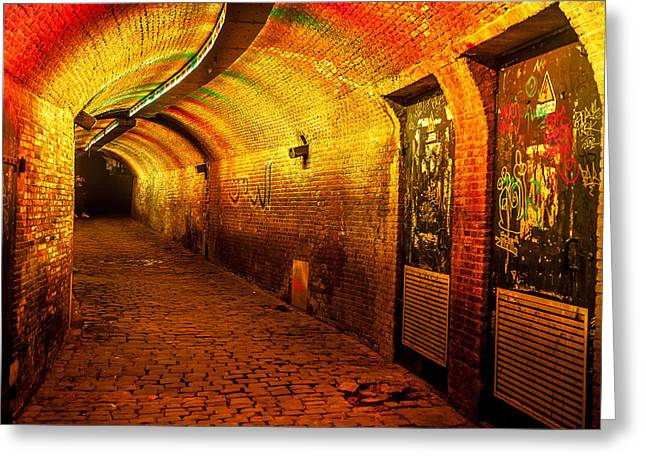 Evening Scenes Greeting Cards - Trajectum Lumen Project. GANZENMARKT TUNNEL 6. Netherlands Greeting Card by Jenny Rainbow