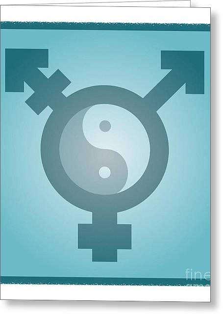 Yang Greeting Cards - Transgender Balance, Conceptual Artwork Greeting Card by Stephen Wood