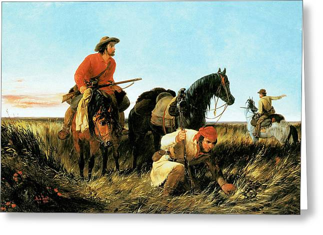 Trappers Greeting Cards - Trappers Following the Trail At Fault Greeting Card by Arthur Fitzwilliam Tait