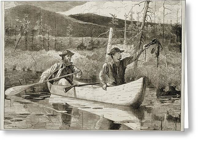 Forerst Greeting Cards - Trapping in the Adirondacks Greeting Card by Winslow Homer