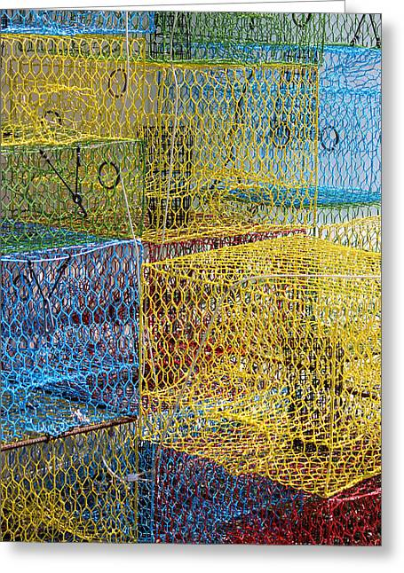 Crab Pots Greeting Card by John Illingworth