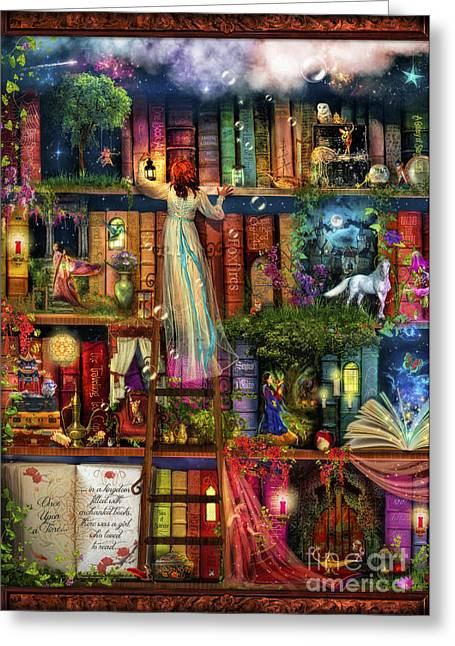 Liberty Greeting Cards - Treasure Hunt Book Shelf Greeting Card by Aimee Stewart
