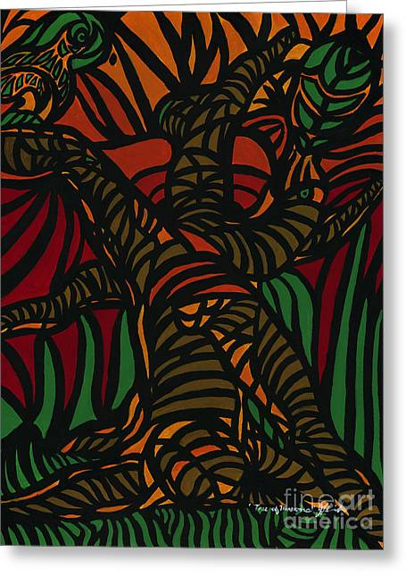 Green And Yellow Abstract Greeting Cards - Tree of Illusions Greeting Card by Janis  Cornish
