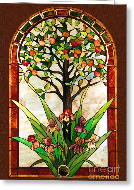 Flower Of Life Glass Greeting Cards - Tree of Life Greeting Card by John Emery