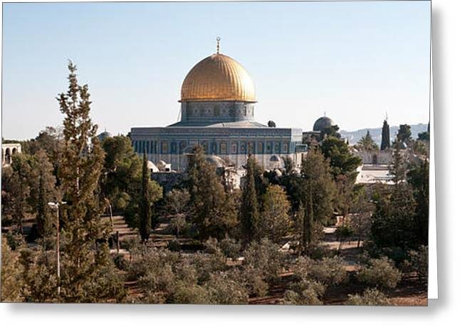 Via Dolorosa Greeting Cards - Trees With Mosque In The Background Greeting Card by Panoramic Images