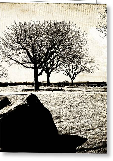 Landscape Framed Prints Greeting Cards - Tres Trees Greeting Card by Gilbert Artiaga