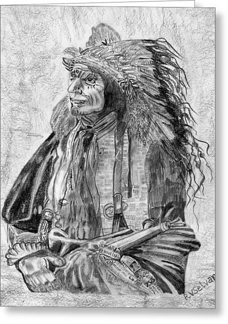 Reservations Drawings Greeting Cards - Tribal Pride Greeting Card by Vaidya Selvan