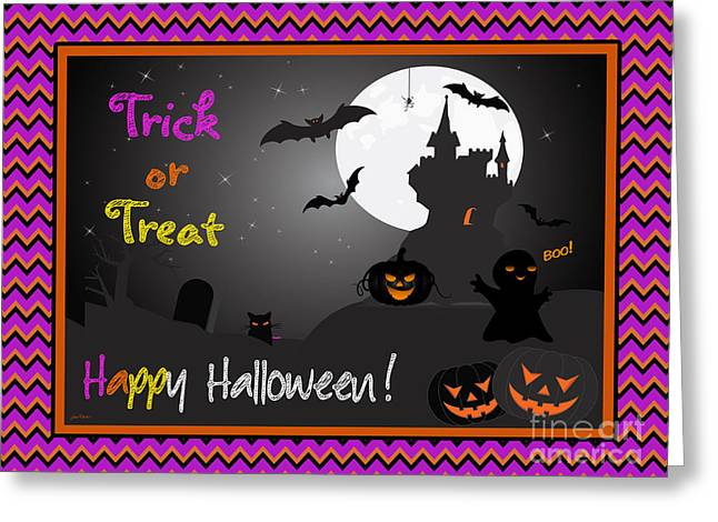 Witch Cat Greeting Cards - Trick or Treat-A Greeting Card by Jean Plout