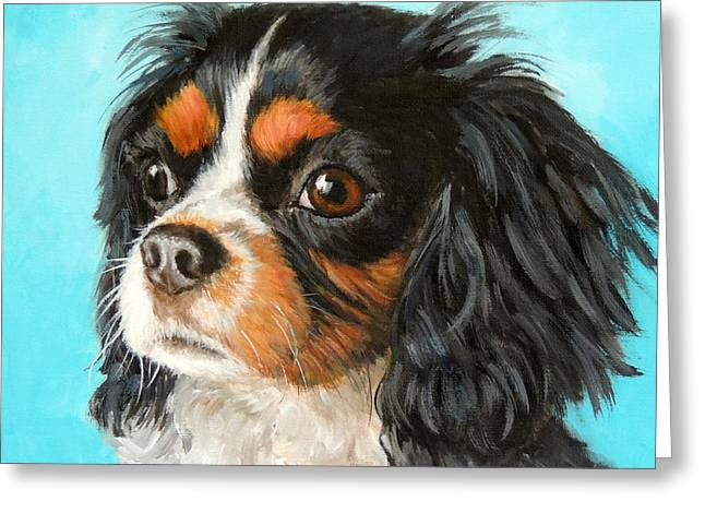 Spaniel Greeting Cards - Tricolored Cavalier King Charles Spaniel Greeting Card by Dottie Dracos