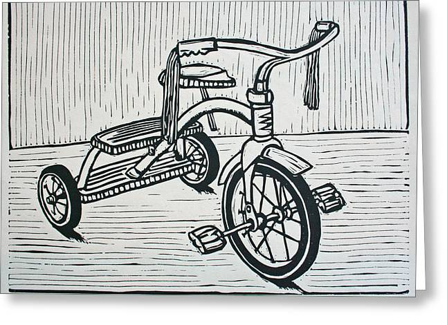 Lino Drawings Greeting Cards - Tricycle Greeting Card by William Cauthern