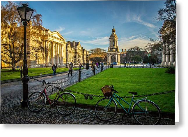 Campus Life Greeting Cards - Trinity College Dublin Greeting Card by Deirdre Hayes