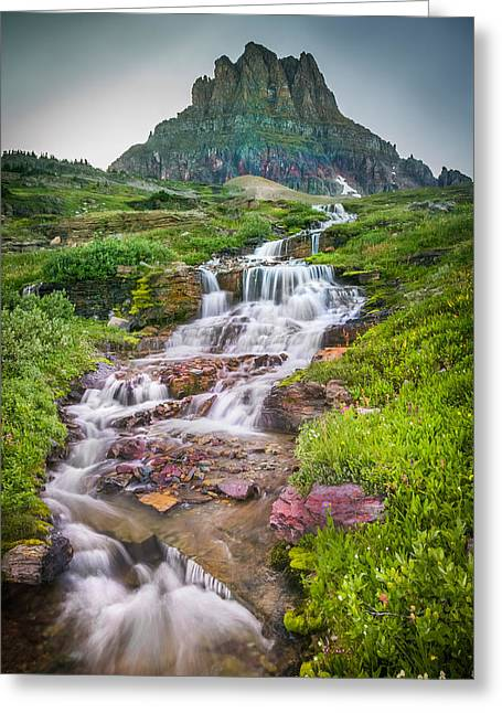 High Country Greeting Cards - Triple Falls Stream Glacier National Park Greeting Card by Rich Franco