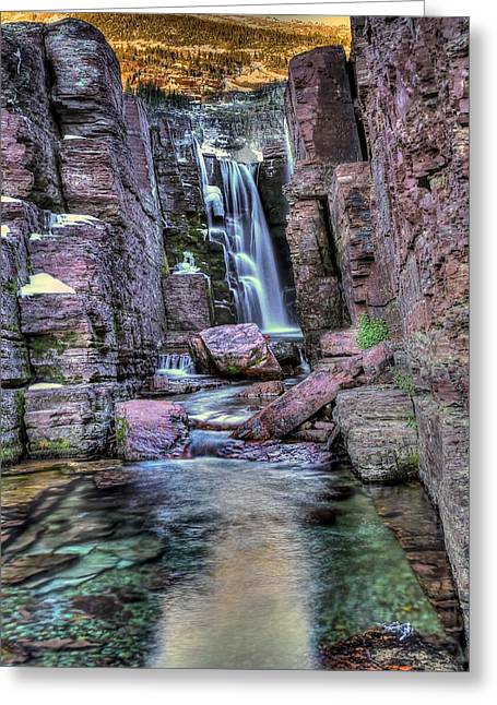 Tripple Falls Greeting Card by Walt Landi