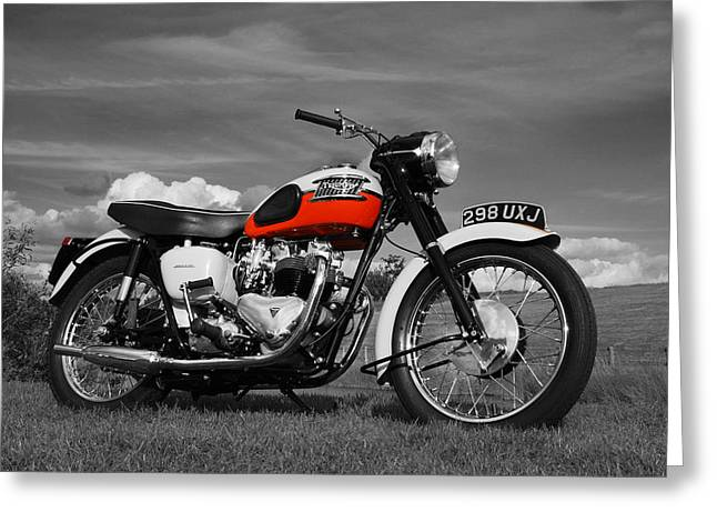 Motorcycles Greeting Cards - Triumph Bonneville 1959 Greeting Card by Mark Rogan
