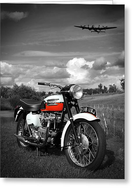 Vintage Airplane Greeting Cards - Triumph Bonneville T120 Greeting Card by Mark Rogan