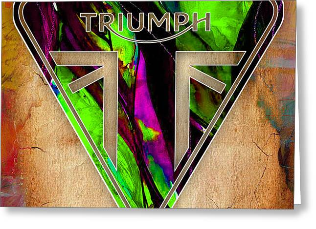 Sport Greeting Cards - Triumph Motorcycle Badge Greeting Card by Marvin Blaine