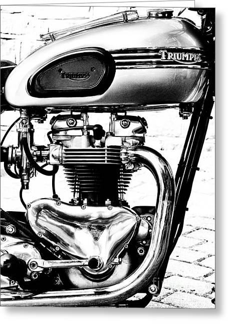 British Culture Greeting Cards - Triumph Tiger 110 Motorcycle Monochrome Greeting Card by Tim Gainey