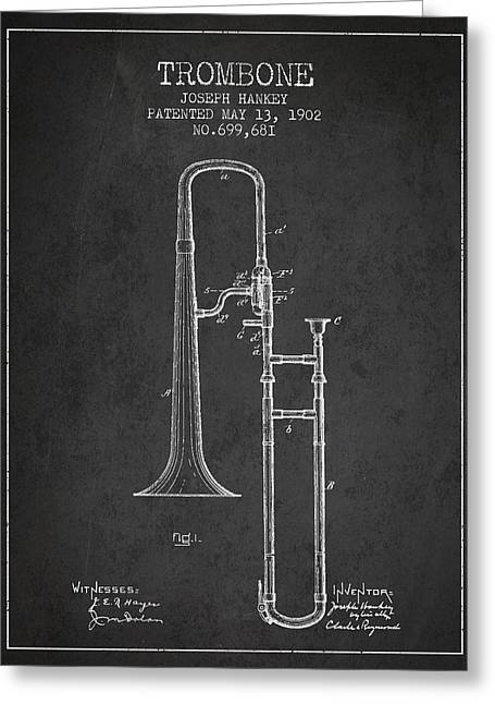 Trombone Greeting Cards - Trombone Patent from 1902 - Dark Greeting Card by Aged Pixel