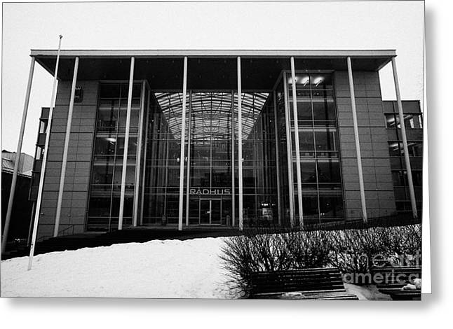 Public Administration Greeting Cards - Tromso radhus city hall troms Norway europe Greeting Card by Joe Fox