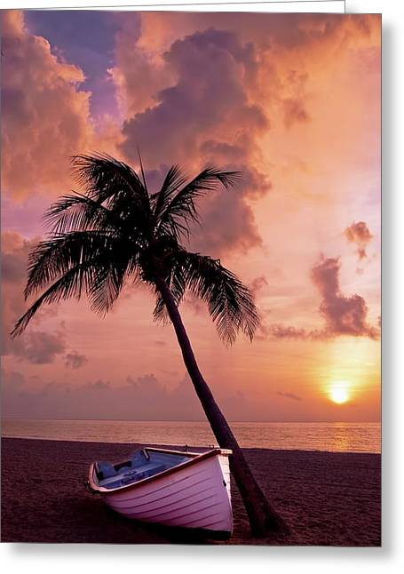 Ocean. Reflection Greeting Cards - Tropical Sunset Greeting Card by Mountain Dreams