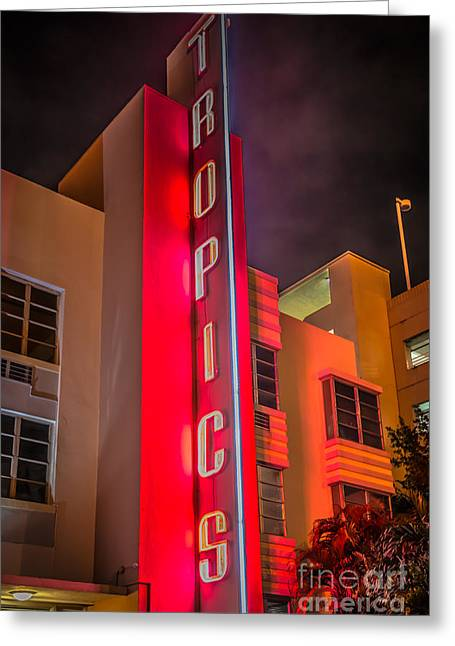 1930s Greeting Cards - Tropics Hotel Art Deco District SOBE Miami - Black and White Greeting Card by Ian Monk