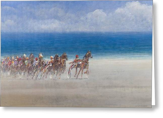 Trot Greeting Cards - Trotting Races, Lancieux, Brittany, 2014 Oil On Canvas Greeting Card by Lincoln Seligman