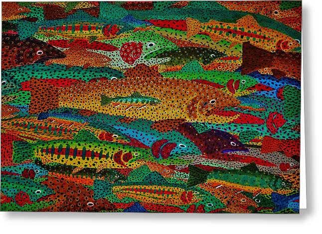 Rainbow Trout Greeting Cards - Trout Mural Greeting Card by Clayton  Pennell