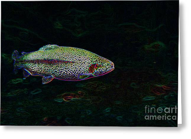Rainbow Trout Greeting Cards - Rainbow Trout Swimming Greeting Card by Lane Erickson