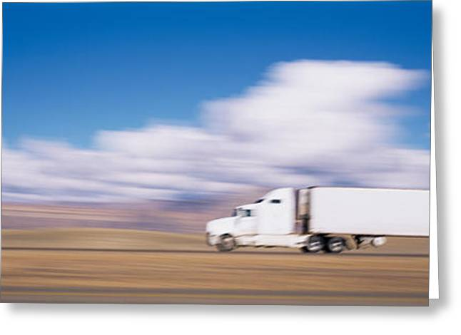 White On Greeting Cards - Truck On The Road, Interstate 70, Green Greeting Card by Panoramic Images