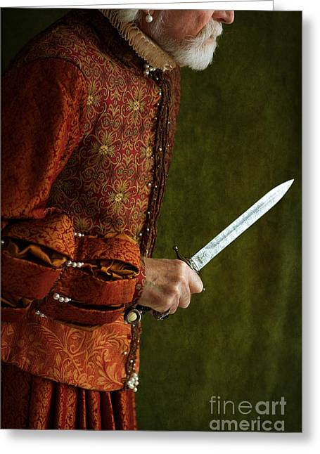 Gold Earrings Greeting Cards - Tudor Man With Dagger Greeting Card by Lee Avison