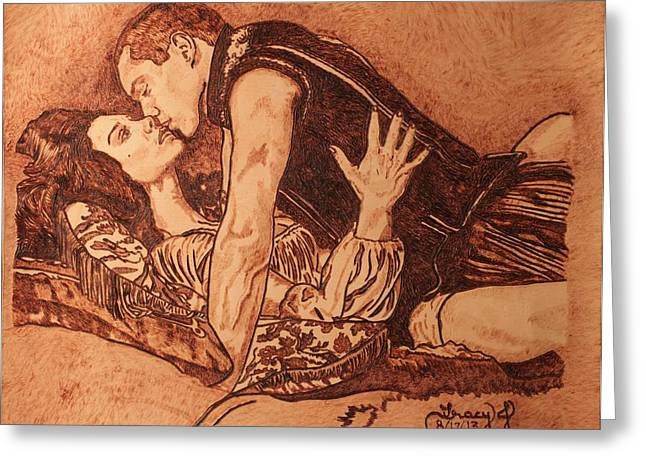 Passion Pyrography Greeting Cards - Tudor Passion Greeting Card by Tracy Partridge-Johnson