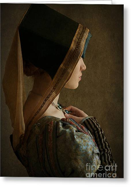 Puffed Sleeves Greeting Cards - Tudor Woman In Profile Greeting Card by Lee Avison