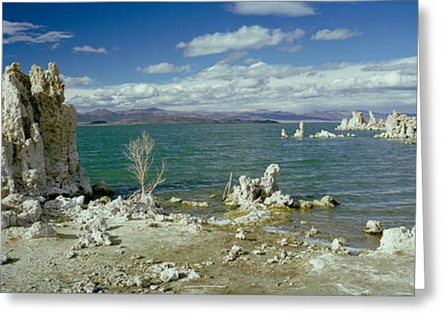 Reserve Greeting Cards - Tufa Rock Formations In A Lake, Mono Greeting Card by Panoramic Images