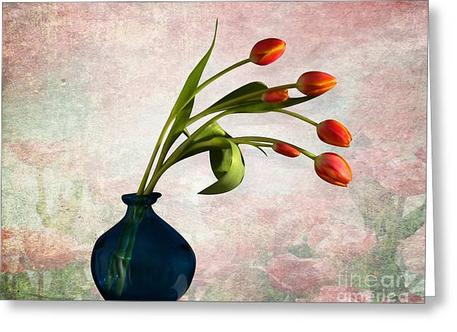 Pink Digital Greeting Cards - Tulips 6 Greeting Card by Mark Ashkenazi