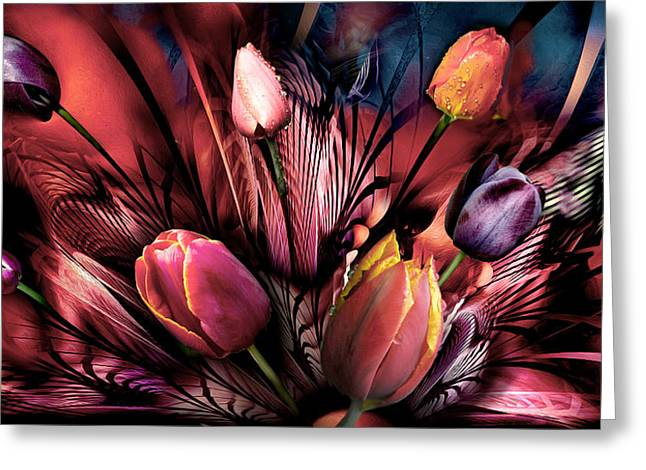 Green Day Greeting Cards - Tulips Abstrackt Greeting Card by Radoslav Nedelchev