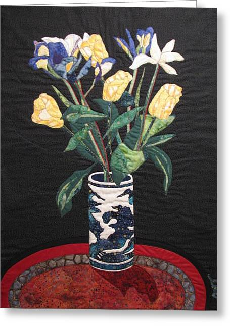 Tulips And Irises Greeting Card by Lynda K Boardman