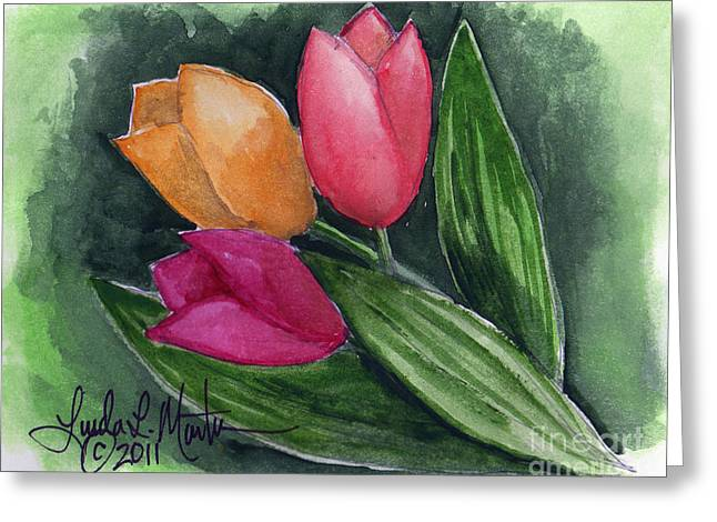 Llmartin Greeting Cards - Tulips Greeting Card by Linda L Martin