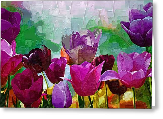 Easter Pictures Greeting Cards - Tulips Oil Painting Flowers Greeting Card by Victor Gladkiy