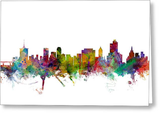Oklahoma Greeting Cards - Tulsa Oklahoma Skyline Greeting Card by Michael Tompsett