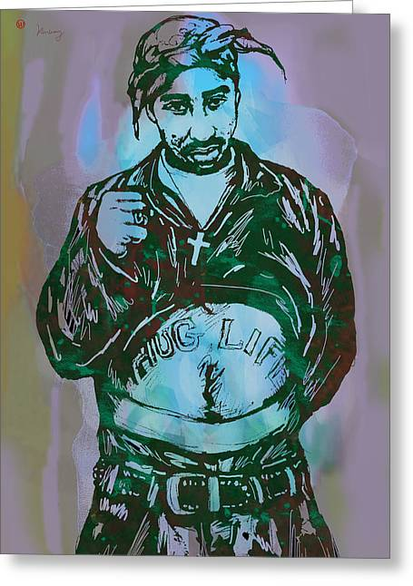 Greatest Of All Time Greeting Cards - Tupac Shakur pop art poster Greeting Card by Kim Wang