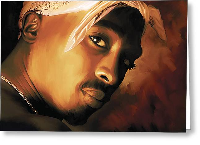 Hip Greeting Cards - Tupac Shakur Greeting Card by Sheraz A